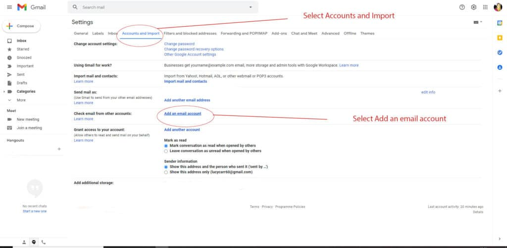Sync email to gmail step 2