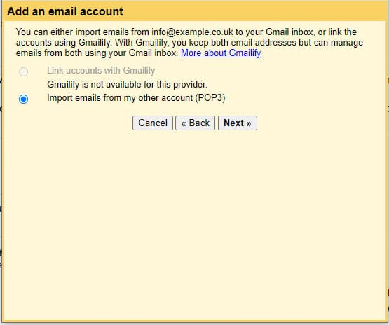 Sync email to gmail step 4